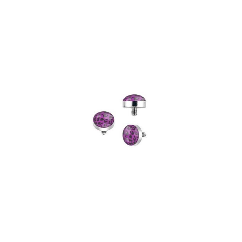 Bille piercing implant microdermal motif léopard de couleur noir et violet pas cher
