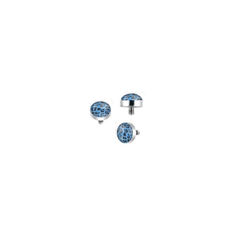 Bille piercing léopard implant microdermal motif léopard de couleur noir et bleu pas cher