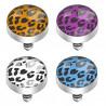 Bille piercing implant microdermal motif léopard de couleur noir et bleu pas cher