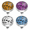 Bille piercing implant microdermal motif léopard de couleur noir et orange pas cher pour femme