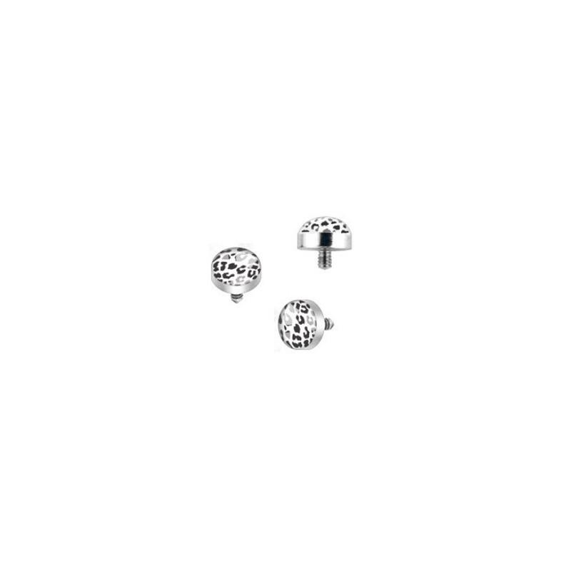 Bille piercing implant microdermal pour femme motif léopard de couleur noir et blanc pas cher