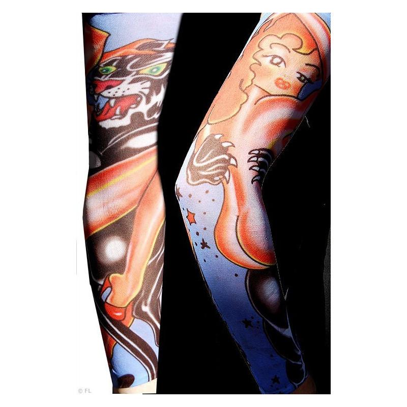 Manche faux Tattoos La Belle et la Bête manche tatouage pin up et panthère couleur