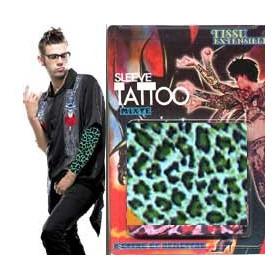 Manche faux Tatouage verte motif Leopard