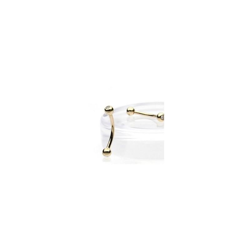 Piercing banane arcade en titane anodisé de qualité doré couleur or bille 3 mm cristal blanc