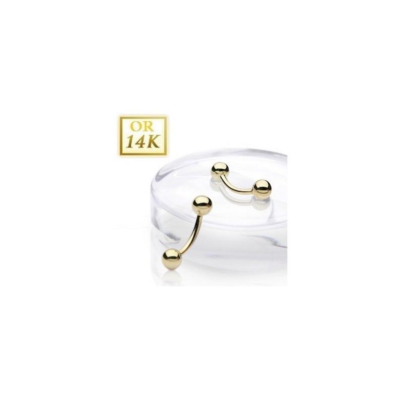 Piercing intime nombril classique chic or jaune 14 carats meilleur prix