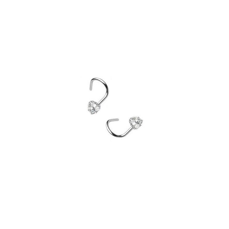 Piercing nez coeur cristal couleur blanc acier chirurgical courbée forme tire-bouchon