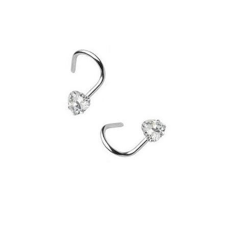 Piercing nez coeur cristal blanc acier courbée