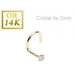 Piercing Nez Or jaune cristal carré Blanc