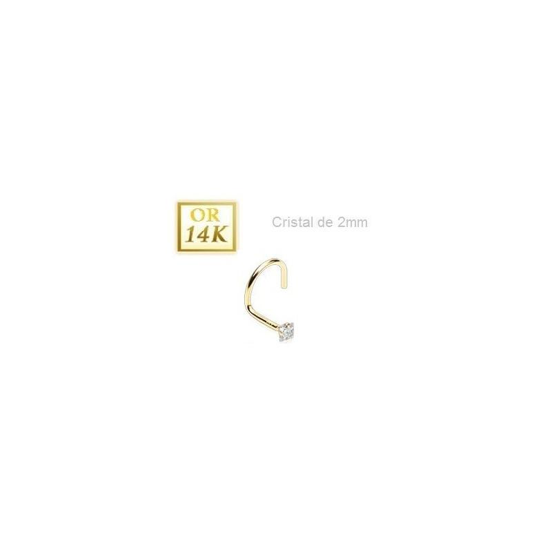 Piercing Nez Or jaune 14 carats cristal carré Blanc
