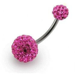 Piercing nombril double Cristal Rose
