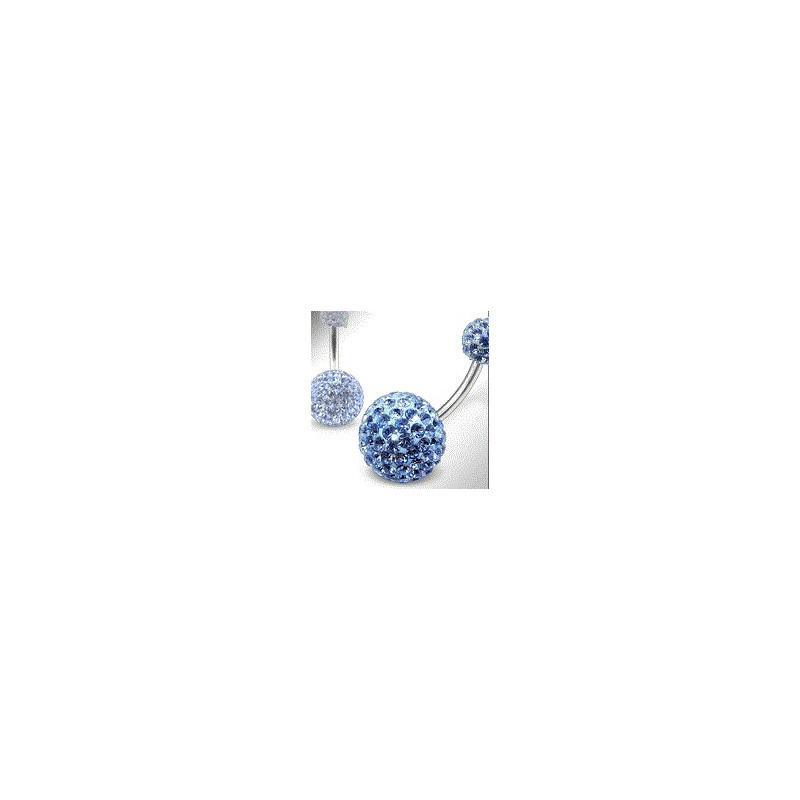 Piercing nombril double Cristal autrichien Bleu ciel avec barre en tatane g23