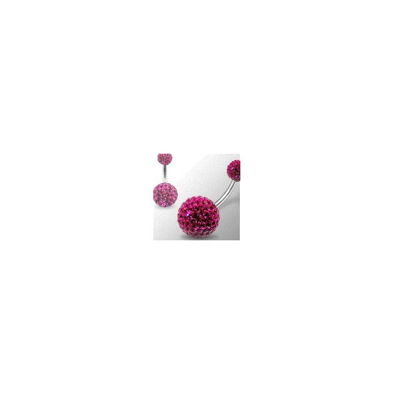 Piercing nombril double Cristal rose Fushia recouvert de résine barre titane haute qualité