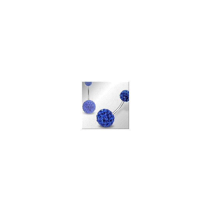 Piercing nombril double Cristal Bleu barre en titane de qualité bijou piercing au meilleur prix