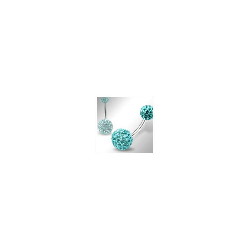 Piercing nombril double Cristal Bleu turquoise barre en titane body piercing en cristal bleu