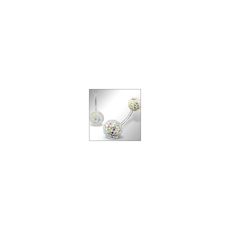 Piercing nombril double Cristal irisé cristal de swarovski barre titane