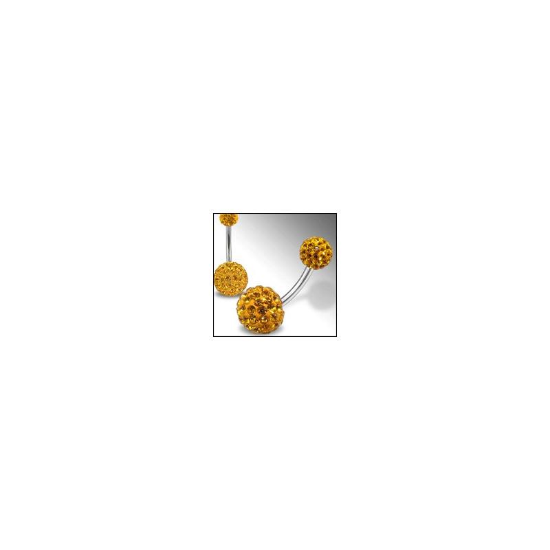 Piercing nombril Swarovski double Cristal topaze jaune barre titane