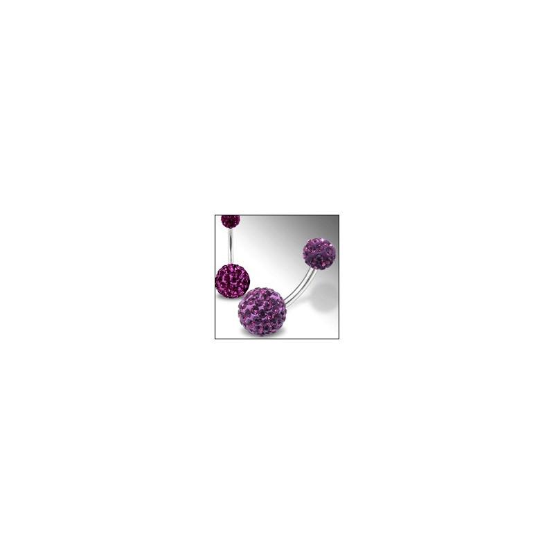 Piercing nombril Swarovski double Cristal violet barre titane