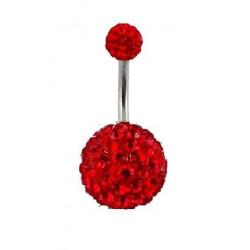 Piercing nombril double Cristal Rouge bille 12mm