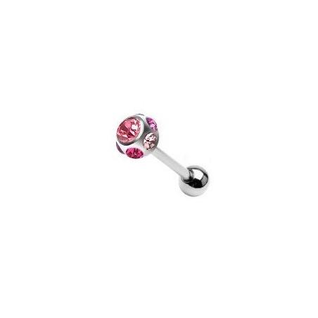 Piercing langue acier multi cristaux rose