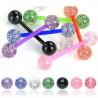 Piercing langue teflon bioflex bille acrylique paillette couleur Blanc transparent flexible
