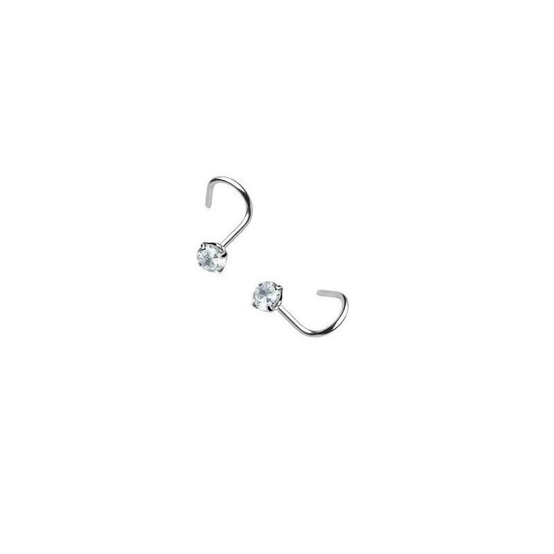 Piercing nez courbée acier chirurgical cristal 3mm rond couleur blanc forme tire-bouchon