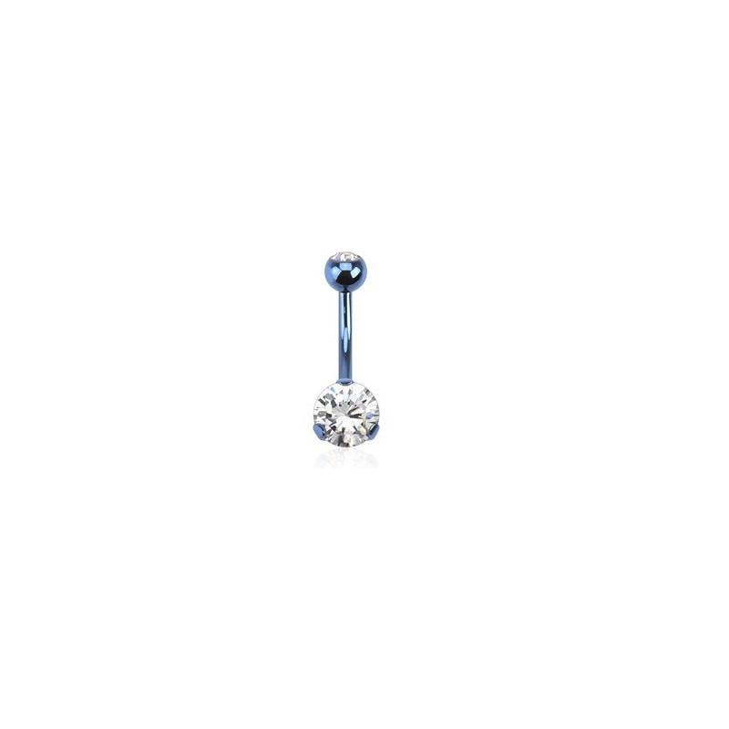 Piercing nombril acier titane bleu solitaire cristal