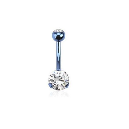 Piercing nombril acier bleu