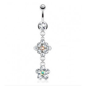 Piercing nombril pendentif double Fleur cristal blanc