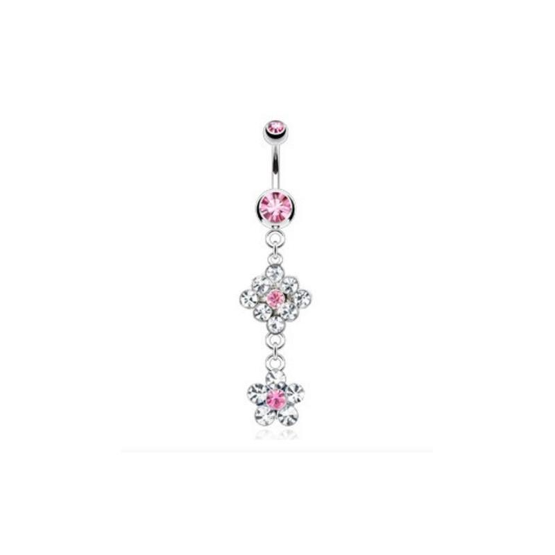 Piercing nombril pendentif double Fleur cristal rose pour femme