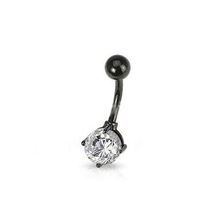 Piercing nombril acier noir et cristal blanc