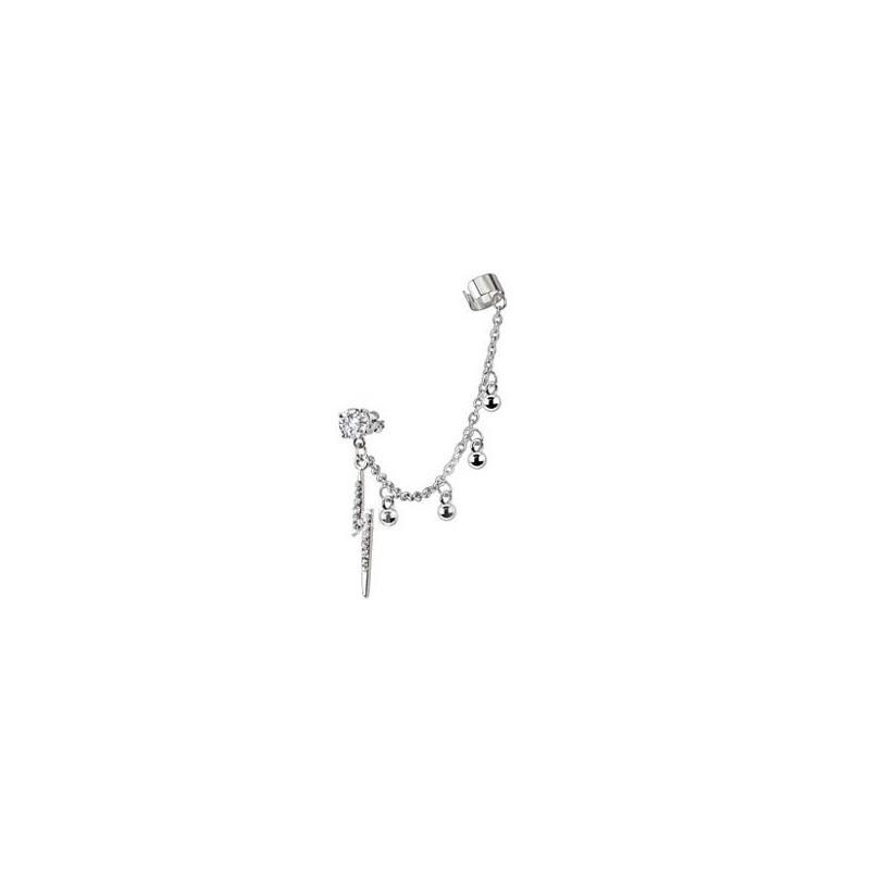 boucle oreille chaîne bague oreille pendantif éclaire strass blanc