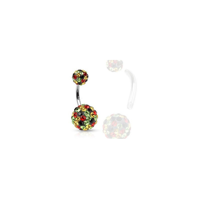 Piercing nombril femme cristaux multicolores