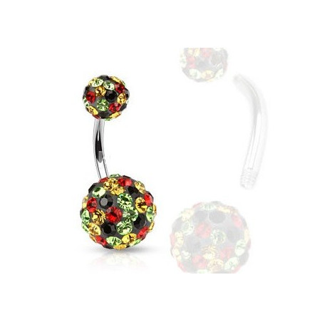 Piercing nombril base noir cristaux multicolores