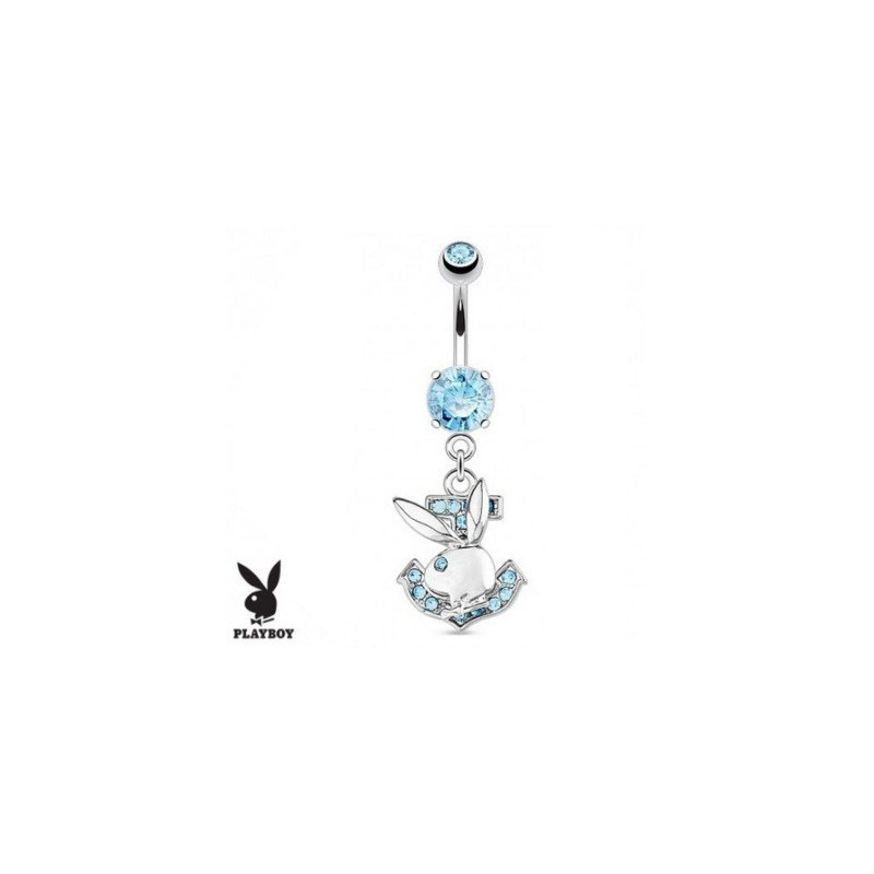 Piercing nombril marque playboy pendentif ancre marine strass bleu turquoise