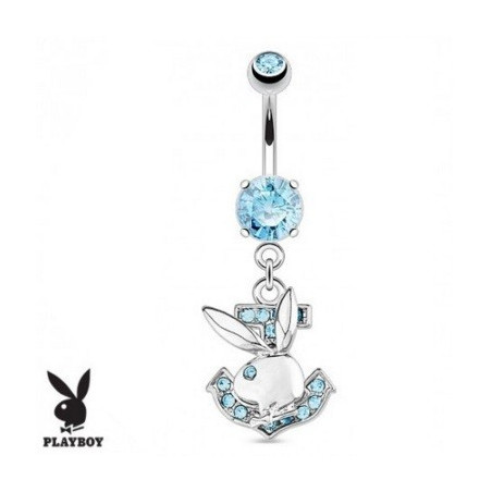 Piercing nombril playboy ancre marine strass turquoise