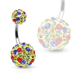 Piercing nombril cristaux multicolores