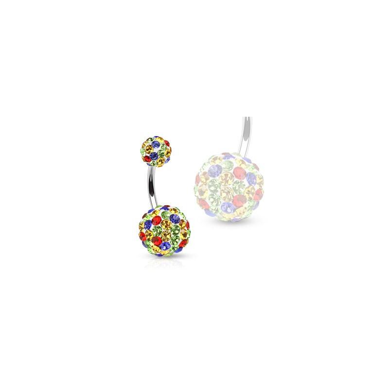 Piercing nombril femme boule de cristal multicolores