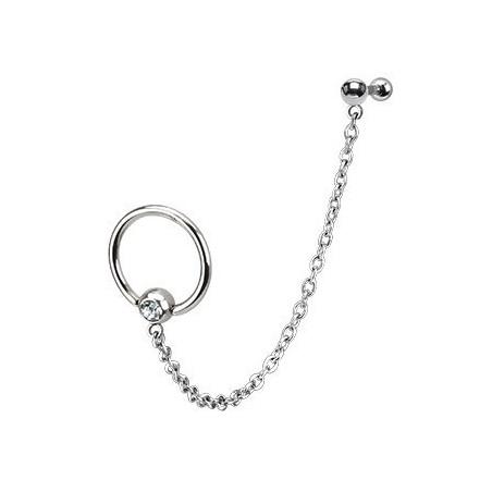 Piercing anneau chaine oreille slave