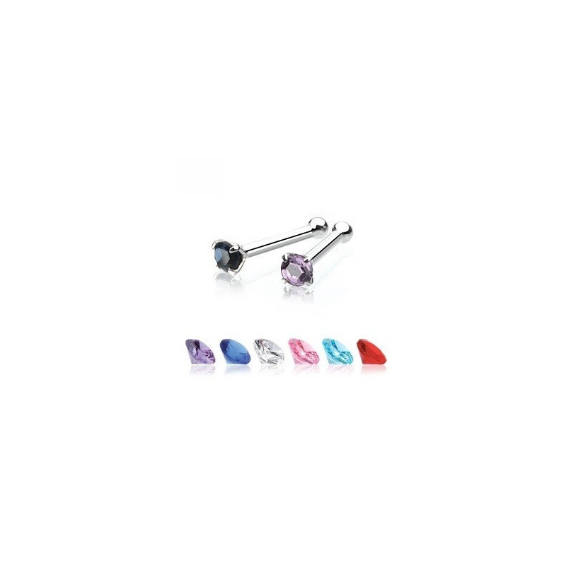 Piercing nez or blanc massif cristal 2mm discret