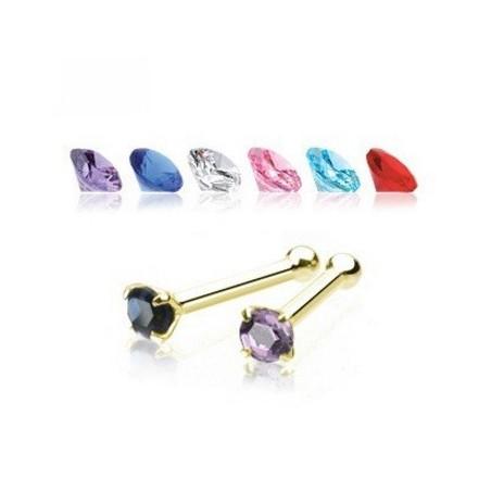 Piercing nez or jaune cristal 2mm