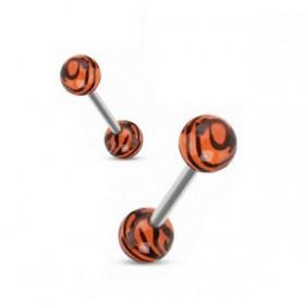 Piercing langue téton barbel bille acrylique zébré orange fluo