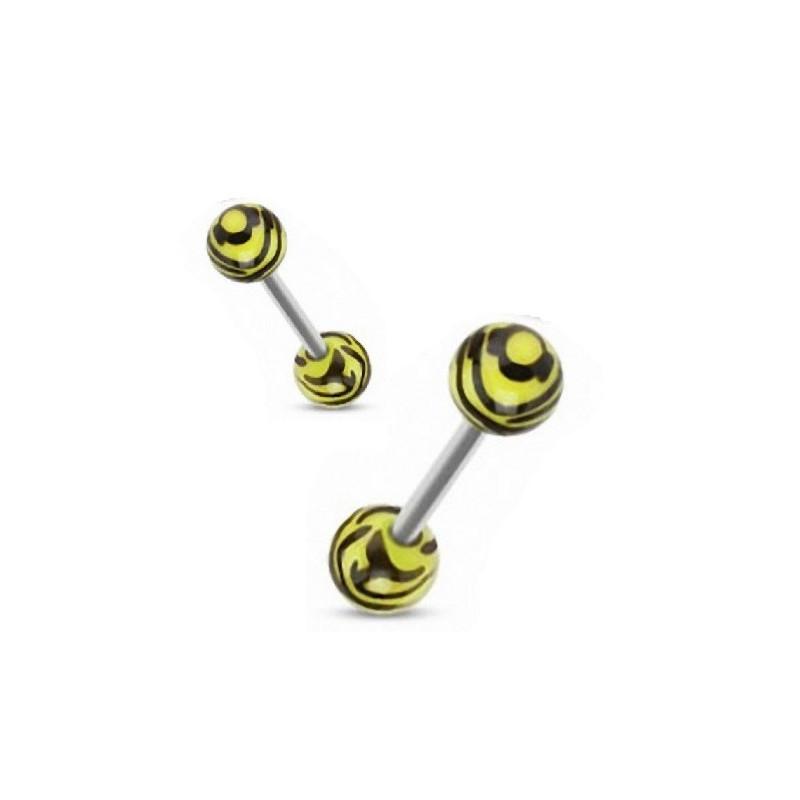 Piercing langue téton barbel bille acrylique zébré jaune fluo