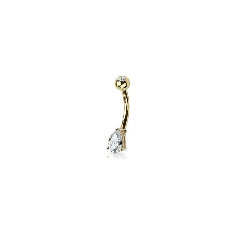Piercing nombril goutte d'eau or jaune massif 14 carats pour femme bijou nombril simple discret
