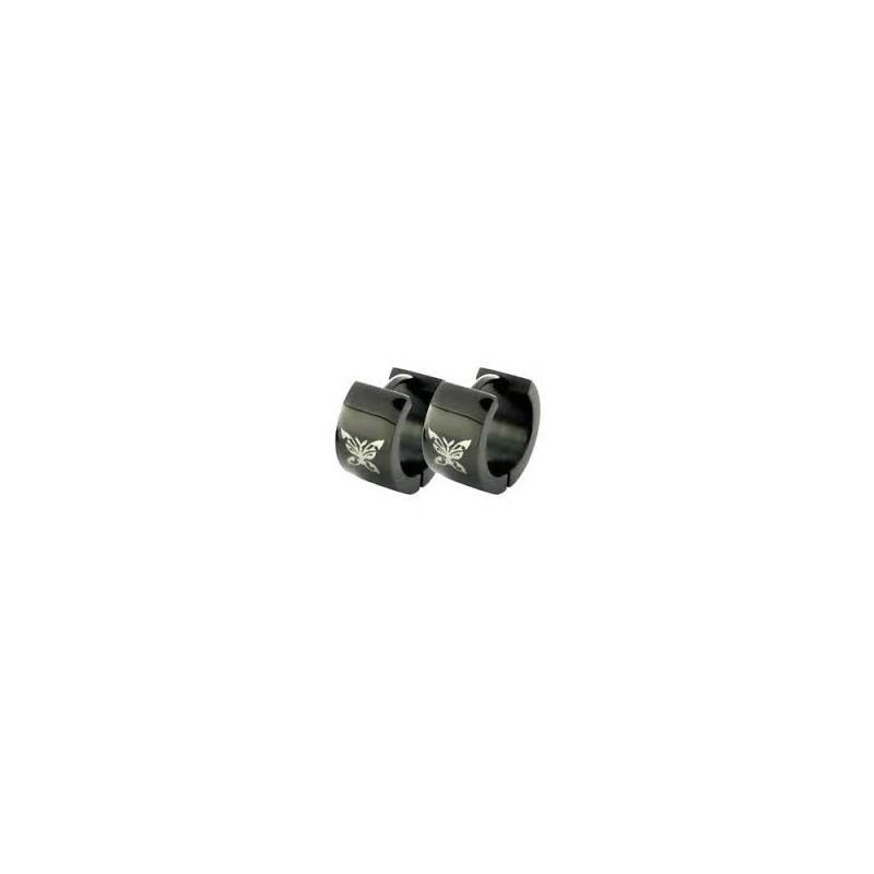 boules oreille Anneaux Noir Papillon acier chirurgical