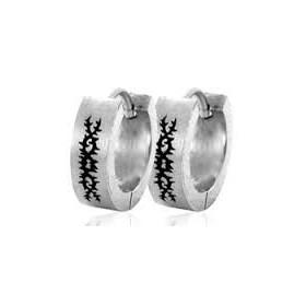 boucle doreille anneau homme acier chirurgical motif tribal