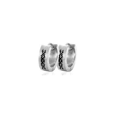 boucle anneau acier motif tribal