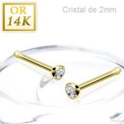 Piercing nez droit en Or jaune 14 carats