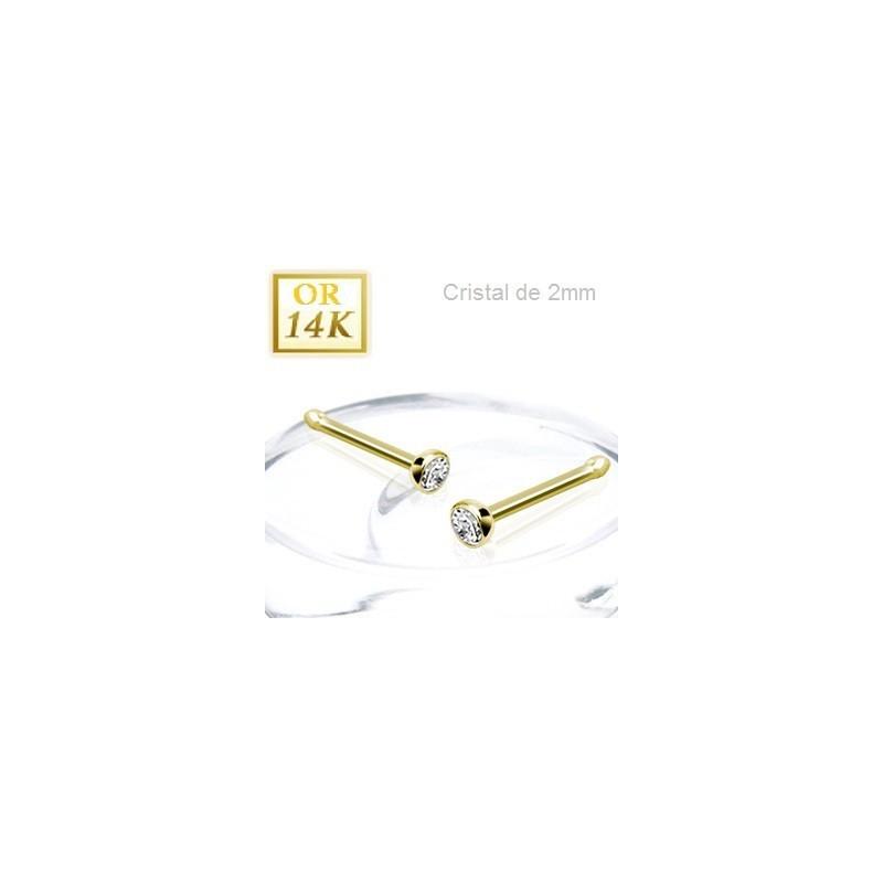 Piercing nez droit en Or jaune 14 carats avec cristal blanc