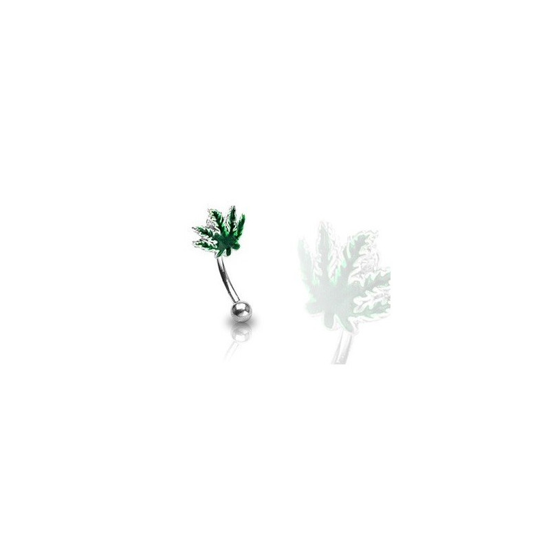 Piercing arcade feuille cannabis acier chirurgical pas cher