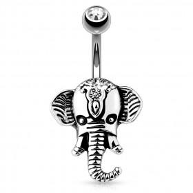 Piercing nombril tête éléphant indien en acier chirurgical